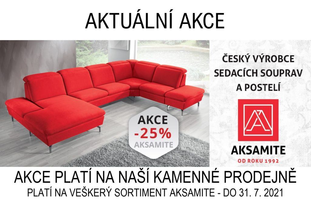 Akce slevy na všechno aksamite sedací souprava červená 25% český kvalitní výrobek nábytek styl turnov
